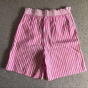 Vintage high waist candy stripe paper bag shortsVi